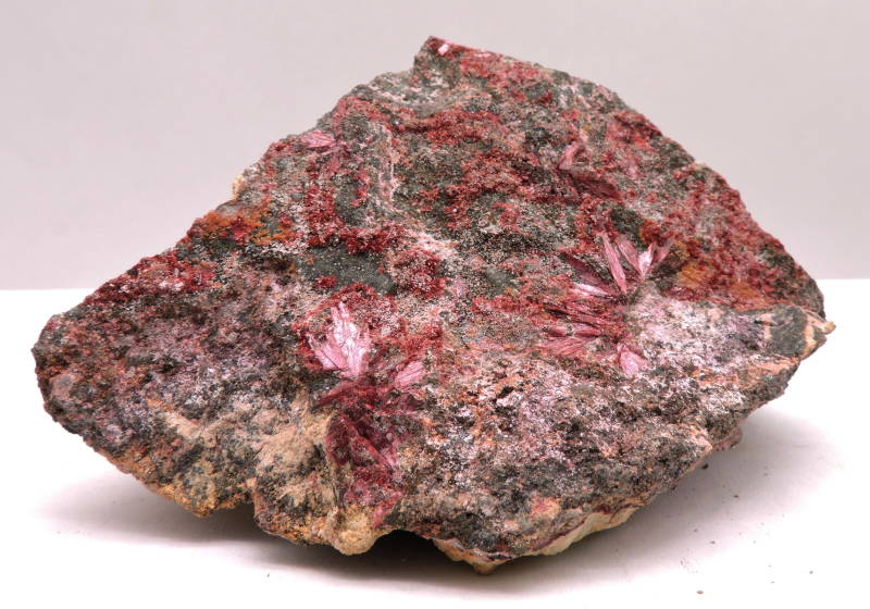 Erythrite on matrix from Morocco - cabinet size