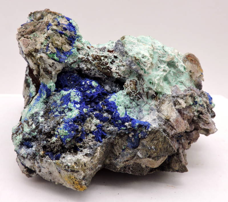 Azurite and malachite on matrix from Morocco - large cabinet size