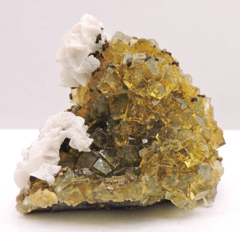 Dolomite and chalcopyrite on fluorite from Spain - miniature