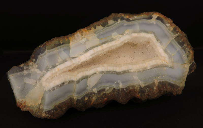 Large geode with agate, quartz and goethite needles from Morocco - cabinet size