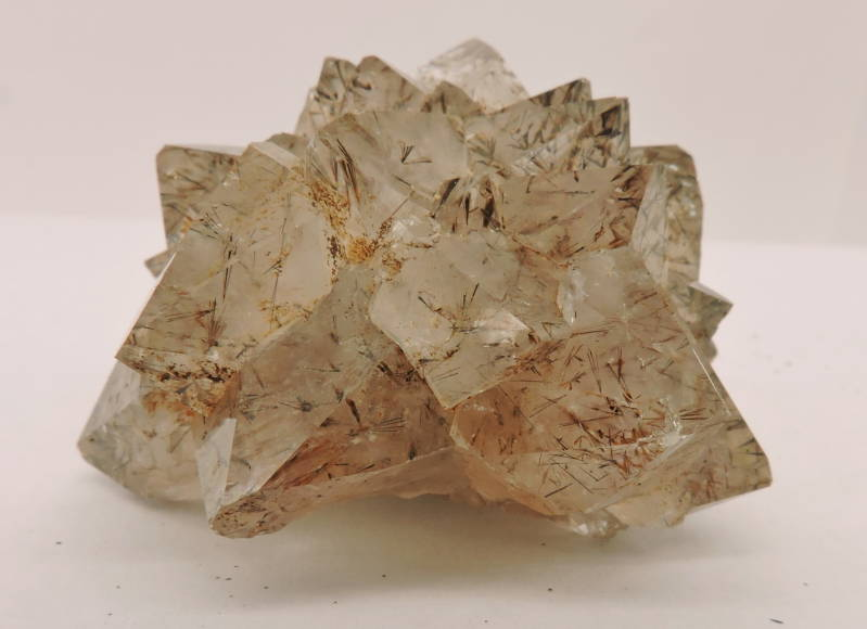 Quartz with inclusions from goethite needles from Morocco - miniature