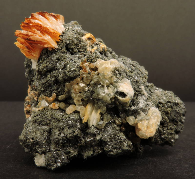 Galena, cerussite and baryte on matrix from Morocco - miniature