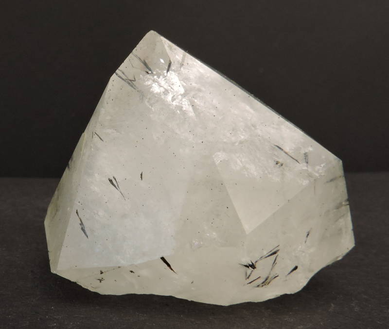 Single quartz crystal with inclusions from goethite from Morocco - miniature