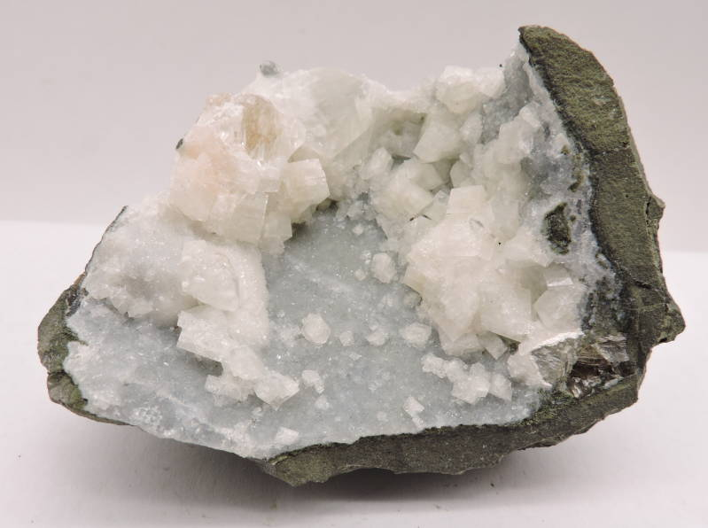 Apophyllite and calcite on chalcedony from India - cabinet size