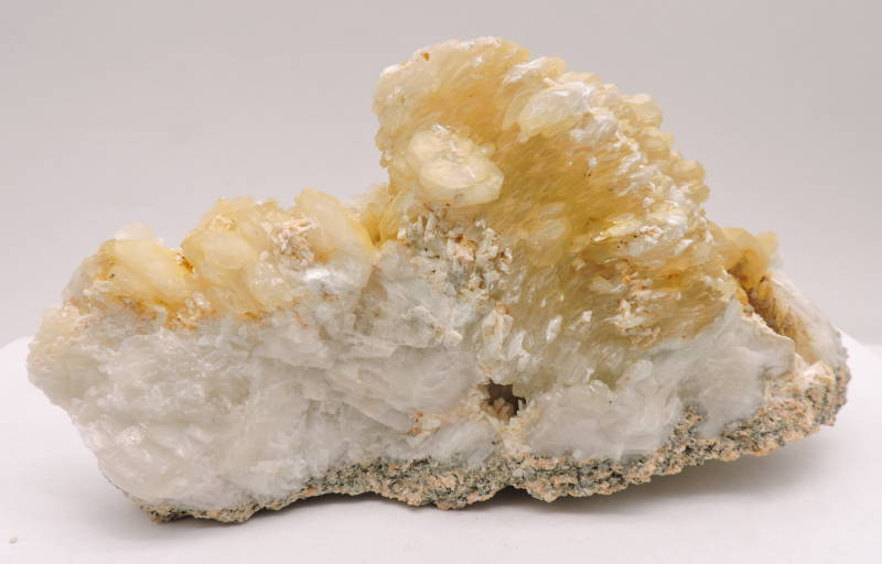 Caclite and laumontite from the Czech Republic - fluorescent - large cabinet size