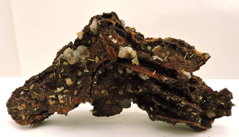 Wulfenite, goethite and calcite? from Mexico - cabinet size