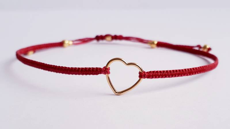 Gold Filled Heart red