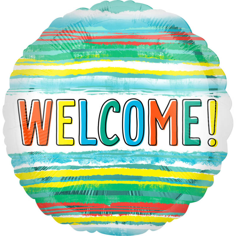 Folieballon Welcome Watercolor Stripe 45 cm