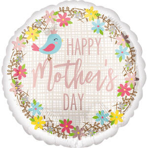 Folieballon Happy Mother's Day! 43 cm roze/wit