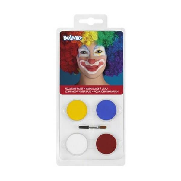 Palet schmink op waterbasis Clown (4 potjes en 1 applicator)