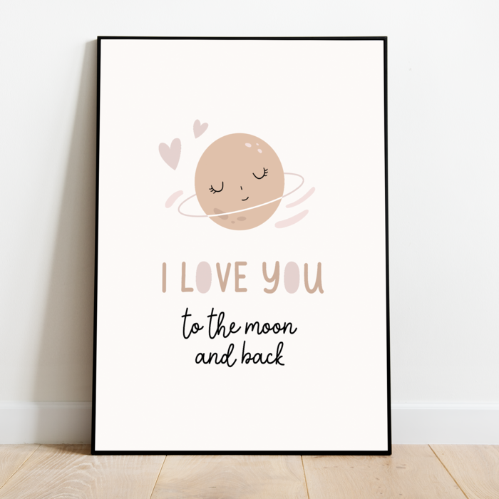 Pre order Kinderkamer poster: Love you to the moon and back