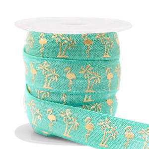 Lint flamingo/palmtree Turquoise-gold