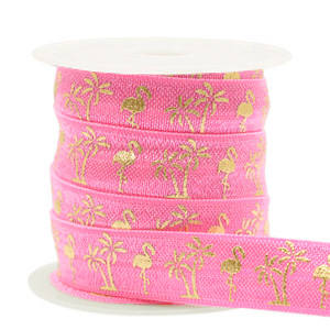 flamingo/palmtree Pink-gold