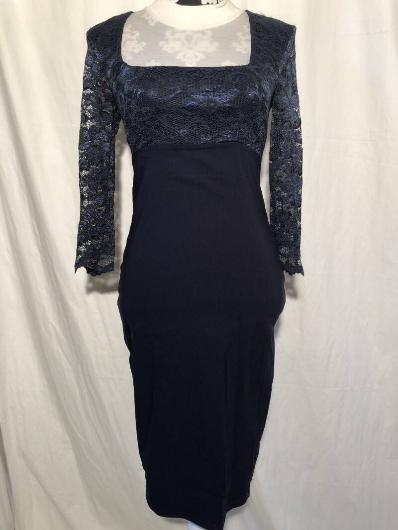 Vintage chic for top vintage blauw/kant retro pencilldress maat M