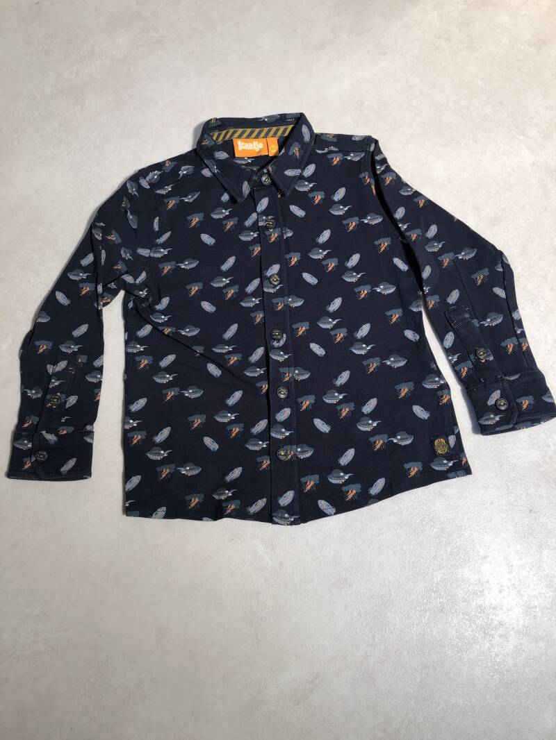 Kaatje  donkerblauw space print tricot overhemd maat 104