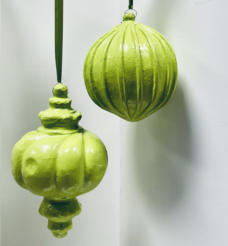 Set decor groene ornamenten papier mache