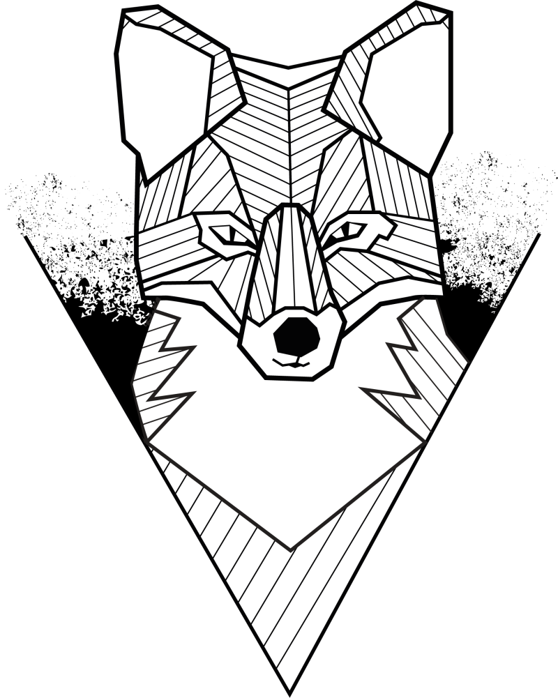 Geometric fox black & white