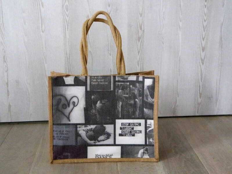 Stevige shopper met fotocollage-print
