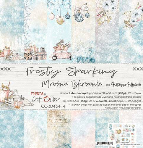 """Craft O'Clock - Paper Collection Set - 12"""" - Frosty Sparking"""