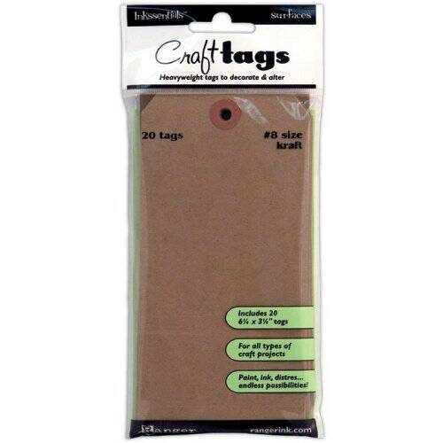 Ranger - Inkssentials - Craft Tags #8 - Kraft, 20 pc