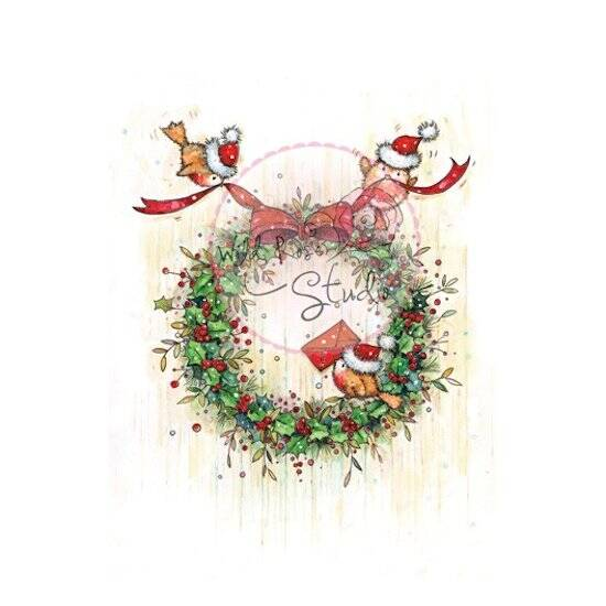 Wild Rose Studio-A7-Clear Stamp-Christmas Wreath