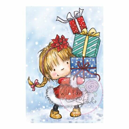 Wild Rose Studio - Clear Stamp - Girl with Xmas Present