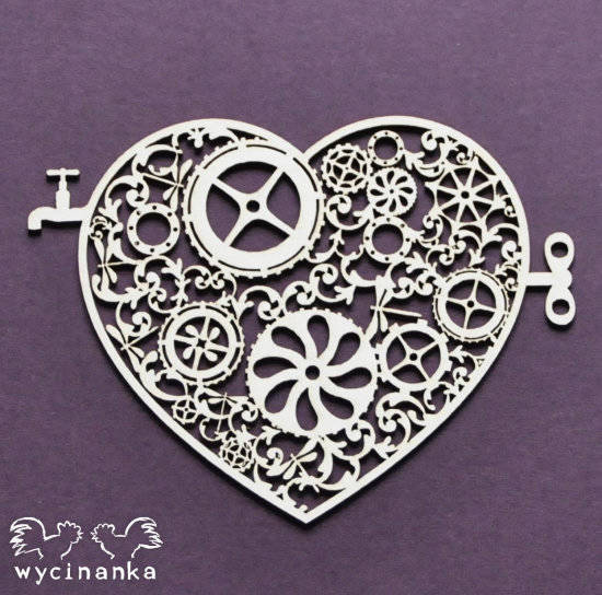 Wycinanka - AROUND THE STEAMPUNK - Heart-pattern 2