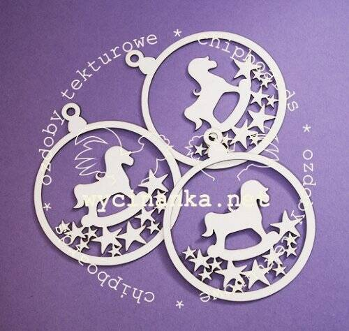 Wycinanka-CHIPBOARD/CHRISTMAS-Bauble Horse & Stars