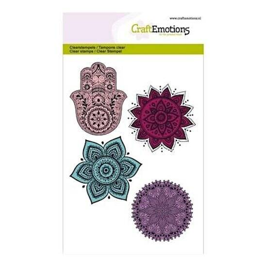 CraftEmotions - clearstamps A6 - Happiness - Hand, Bloem ornament