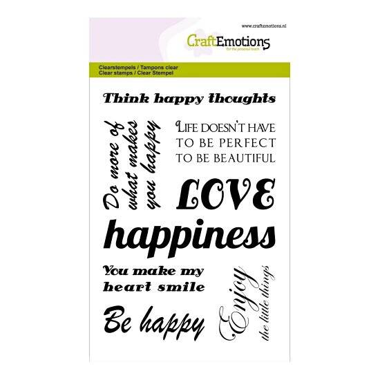CraftEmotions-clearstamps A6-Happiness-text 'Happy'