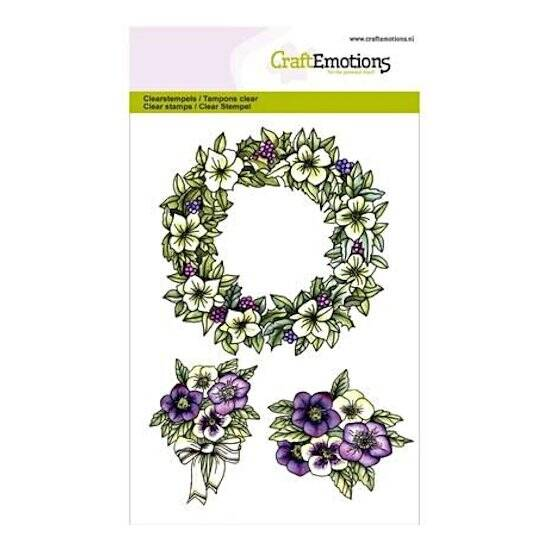 CraftEmotions-clearstamps A6-Purple Holiday-Bloemenkrans