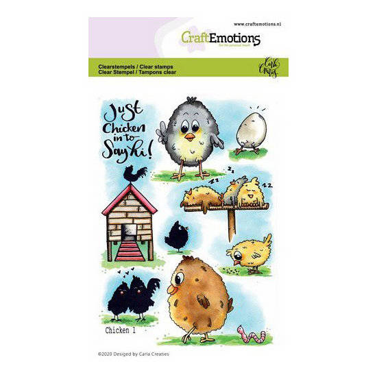 CraftEmotions-clearstamps A6-Chicken 1-Carla Creaties