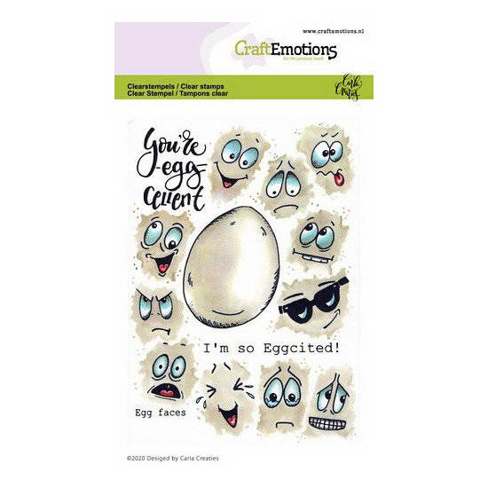 CraftEmotions-clearstamps A6-Egg faces-Carla Creaties