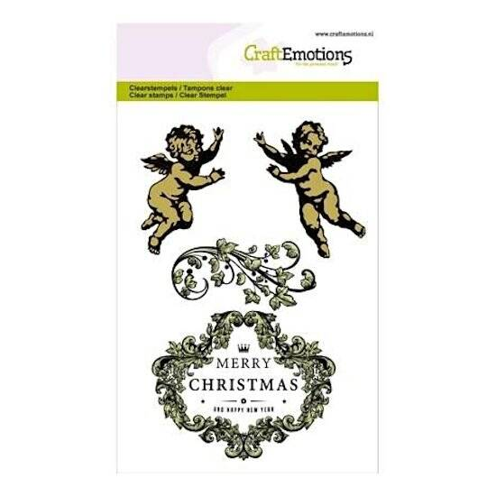 CraftEmotions-clearstamps A6-Purple Holiday-Engeltjes ornament label