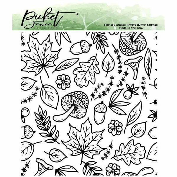 Picket Fence Studios - A Medley of Fall Collage - Clear Stamps