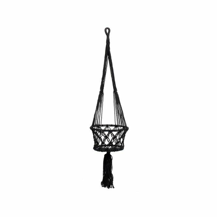 The Macramé Plant Holder - Black - M