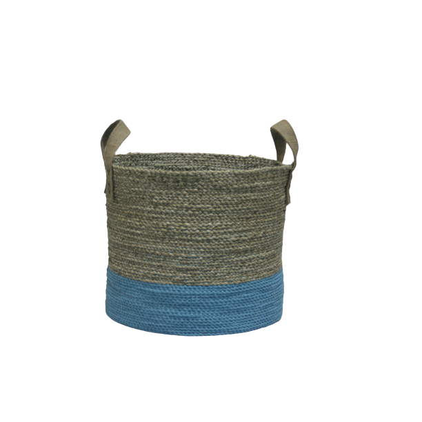 Shopia round basket seagrass with handle jute