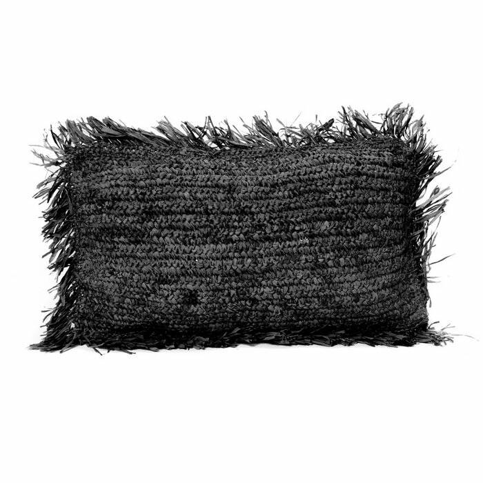 The Raffia Cushion Rectangular - Black