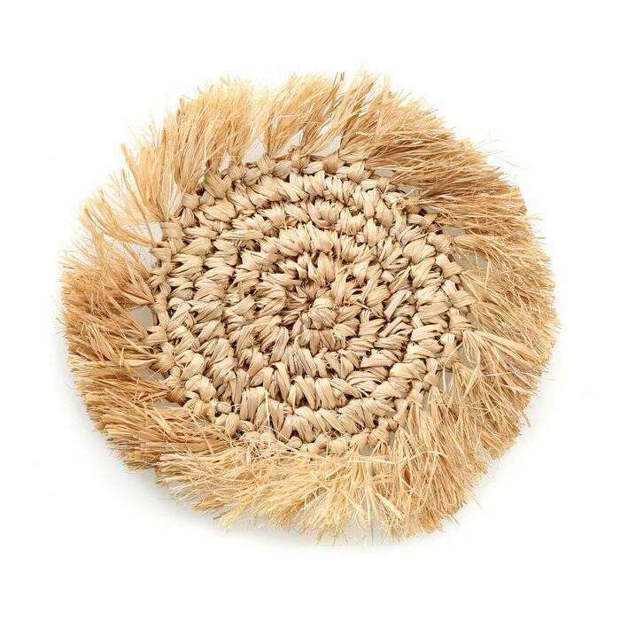The Fringe Raffia Coaster - Natural