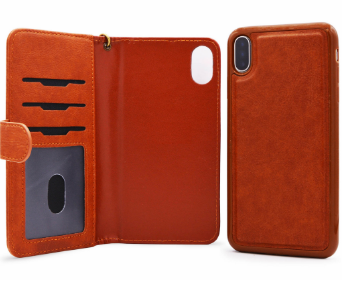 2 in 1 Leather Pelle Wallet Case For iPhone X & XS