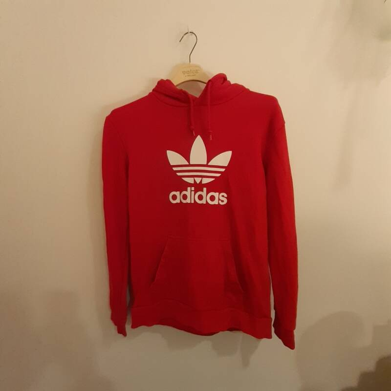 D46. red Adidas hoodie - size S