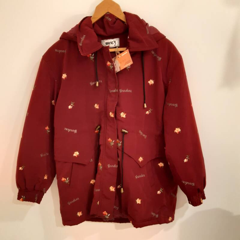 G10. Bordeaux red floral winter parka - size M