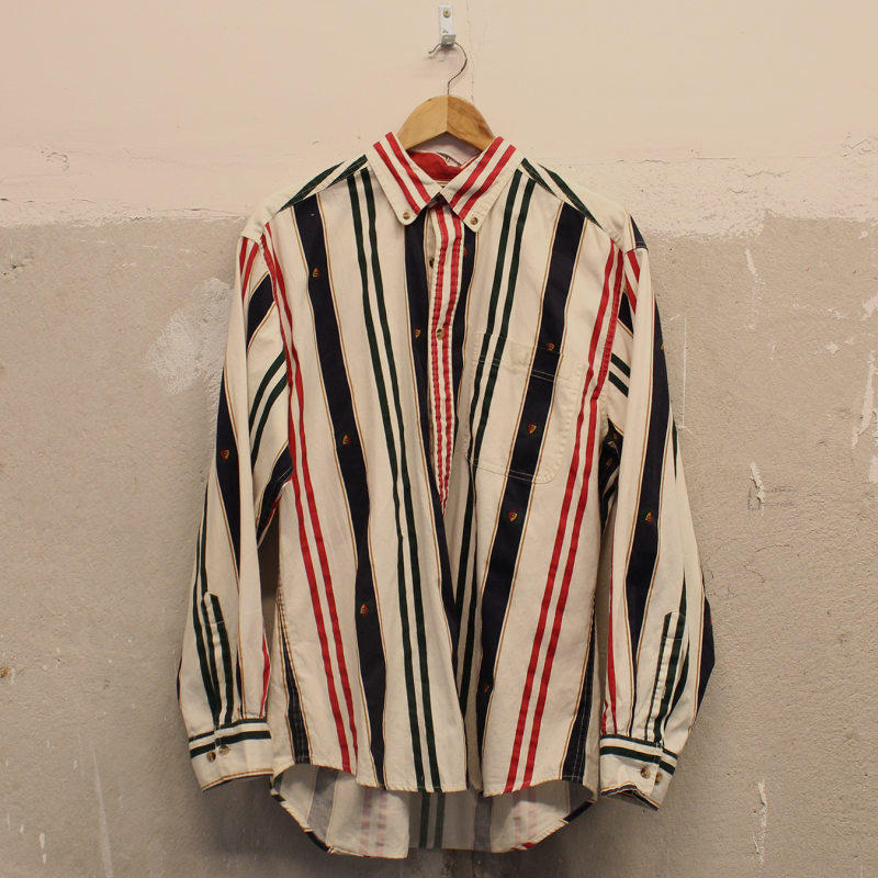 B04. Long Sleeve striped button shirt - men's L
