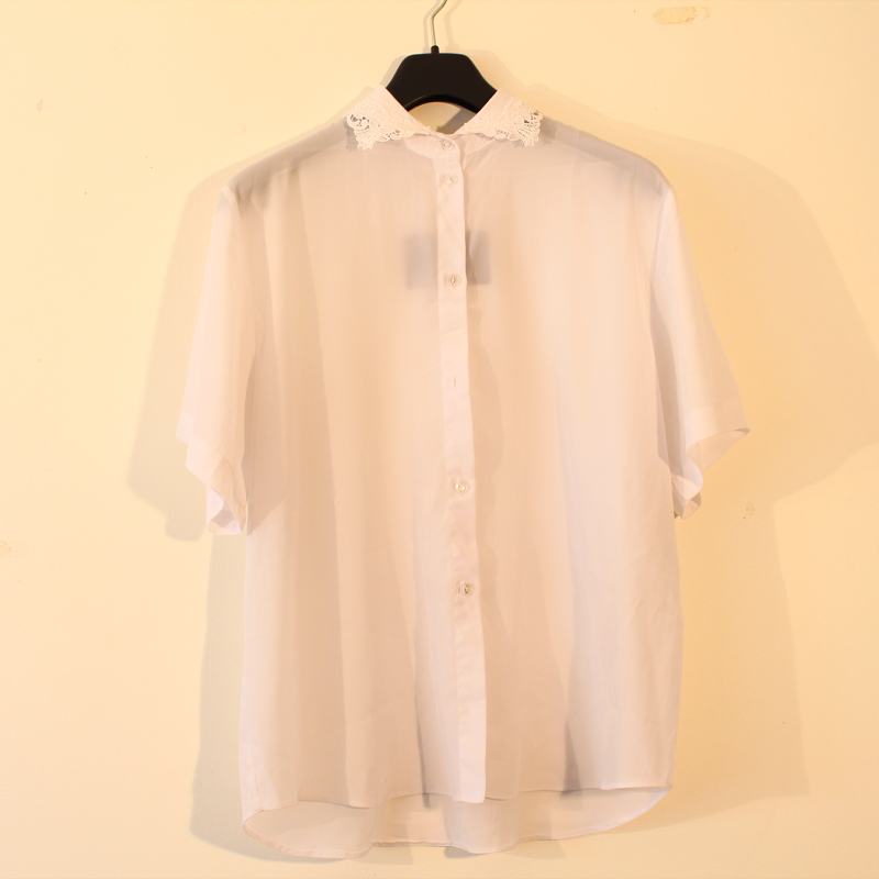 B19.  white blouse with lace - size M/L