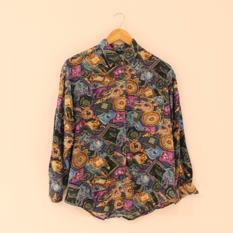 C25. crazy print long sleeve blouse - size L