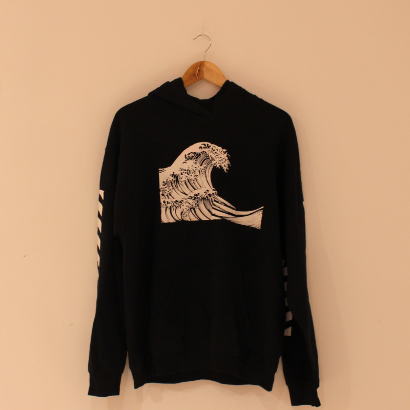 D30. black hoodie with cartoon - size L