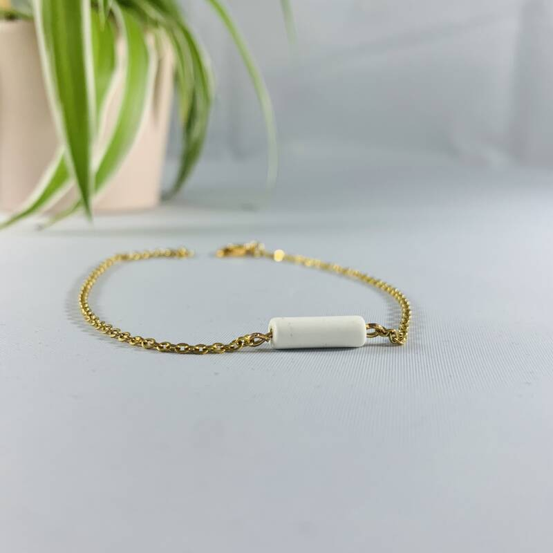 Witte parel gold plated