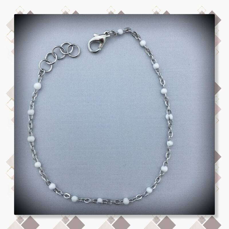 Witte parel armband Silver plated