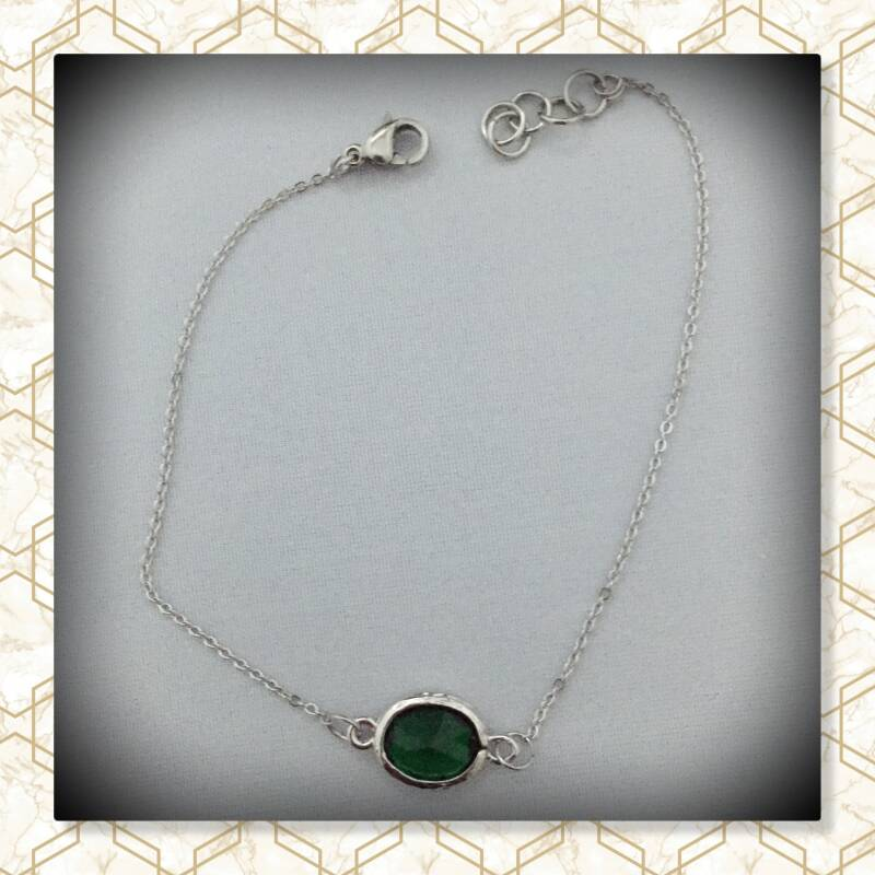Groen parel armband Silver plated