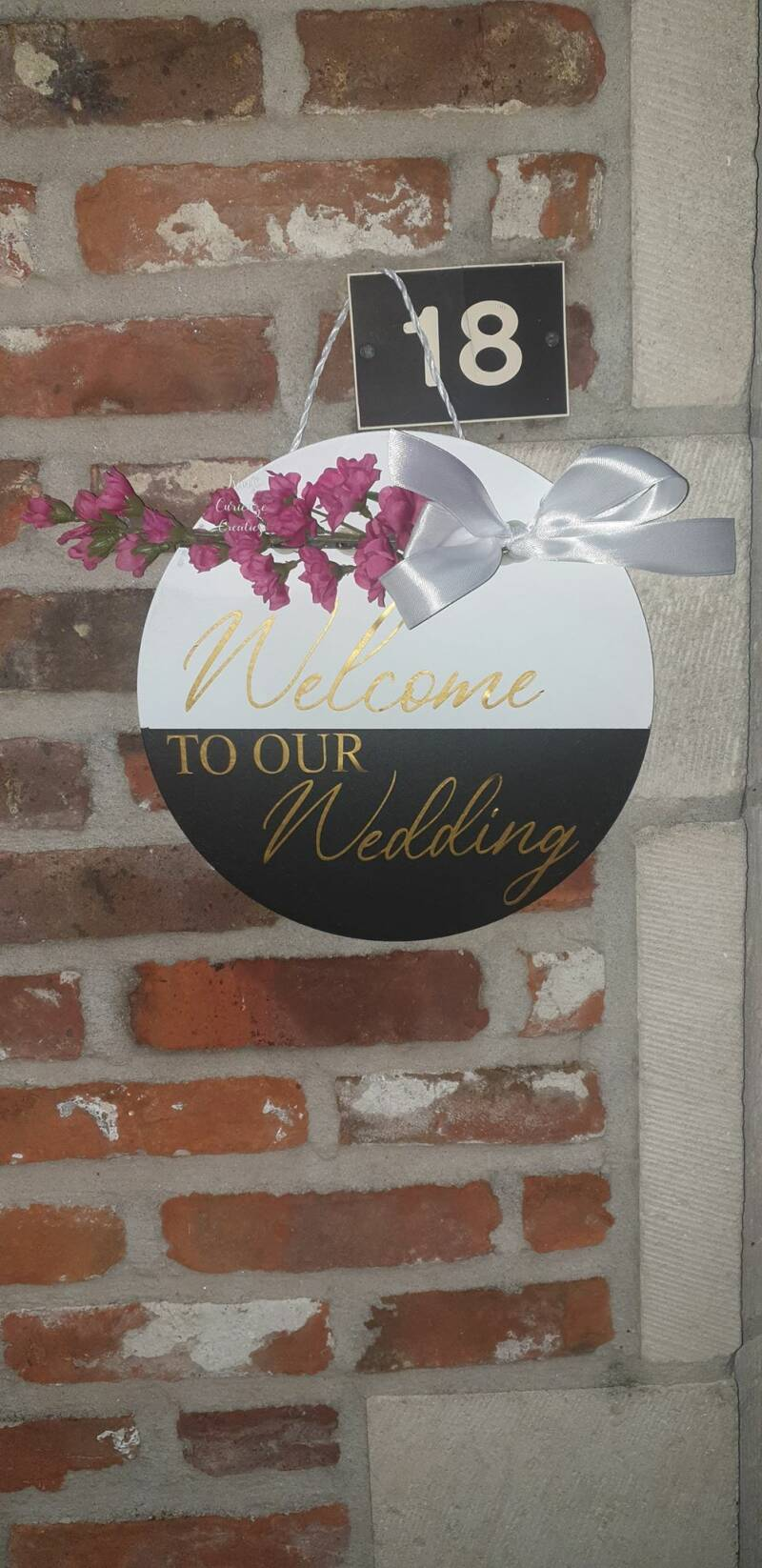 ronde tekstbord, Welcome to our wedding